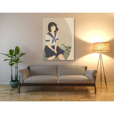 'Snake And Woman' by Sai Tamiya, Giclee Canvas Wall Art