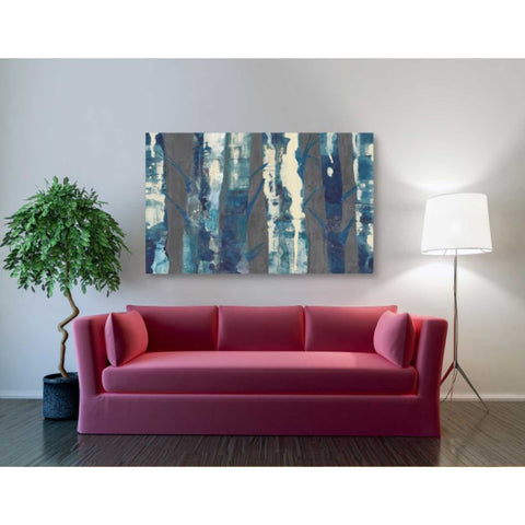 Image of 'Deep Woods III Indigo on Gray' by Albena Hristova, Canvas Wall Art,54 x 40
