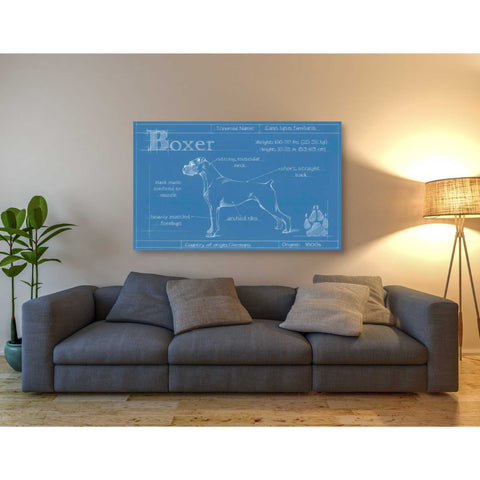 Image of 'Blueprint Boxer' by Ethan Harper Canvas Wall Art,54 x 40