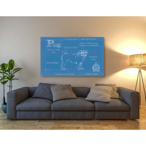 Image of 'Blueprint Pug' by Ethan Harper Canvas Wall Art,54 x 40