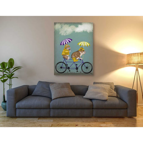 'English Bulldog Tandem' by Fab Funky Giclee Canvas Wall Art
