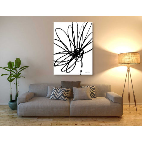 'Black Ink Flower Ii' by Linda Woods, Canvas Wall Art,40 x 54