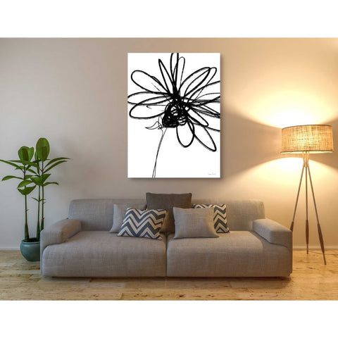 'Black Ink Flower III' by Linda Woods, Canvas Wall Art,40 x 54