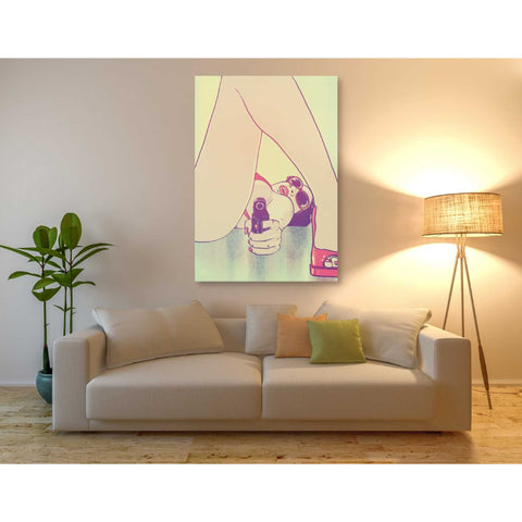 'Girl with Gun' by Giuseppe Cristiano, Giclee Canvas Wall Art
