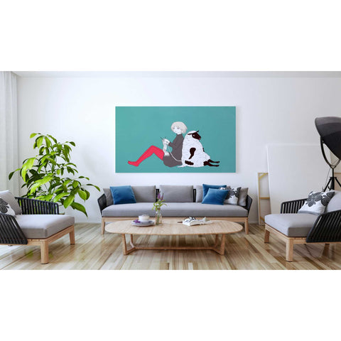 Image of 'Sheep and Girl' by Sai Tamiya, Giclee Canvas Wall Art