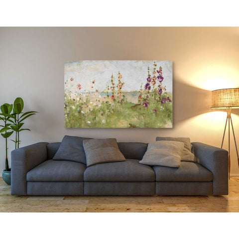 'Hollyhocks by the Sea' by Cheri Blum, Giclee Canvas Wall Art