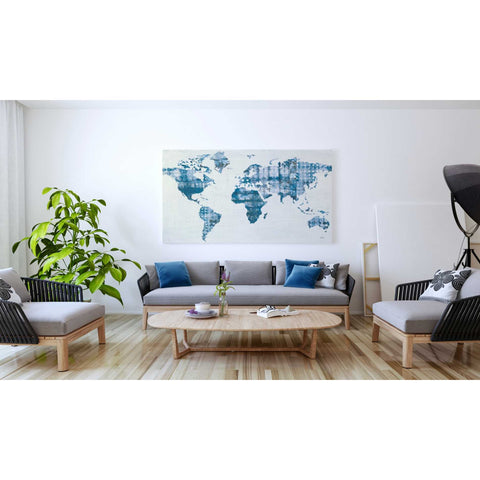 Image of 'Kanari Map Indigo' by Melissa Averinos, Giclee Canvas Wall Art