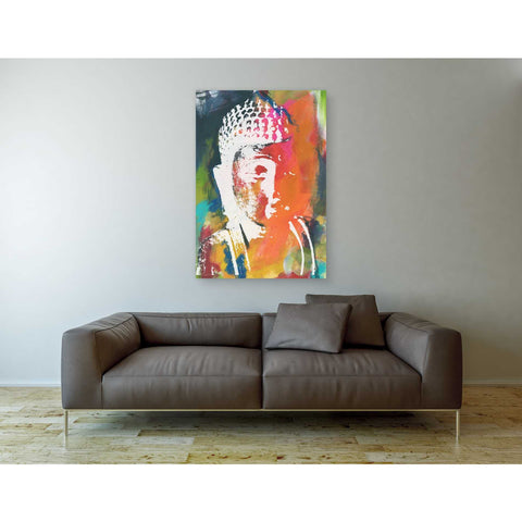 'Painted Buddha V' by Linda Woods, Canvas Wall Art,40 x 60