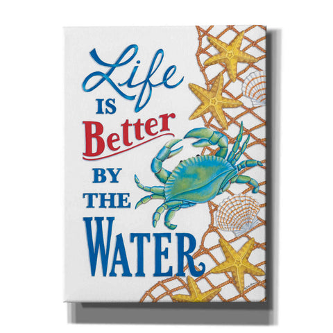 'Better By the Water Crab' by Deb Strain, Canvas Wall Art