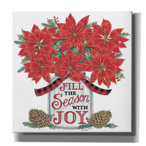 'Fill the Season Poinsettia Jar' by Deb Strain, Canvas Wall Art