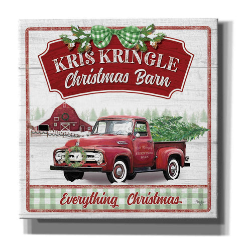 'Kris Kringle Christmas Barn' by Mollie B, Canvas Wall Art