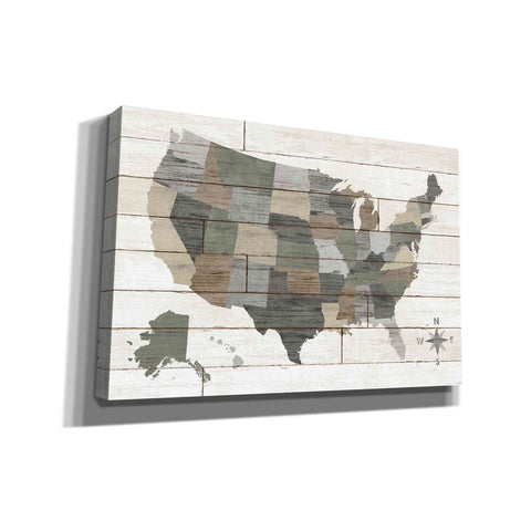 'Barnboard Map Neutral' by Sue Schlabach, Canvas Wall Art