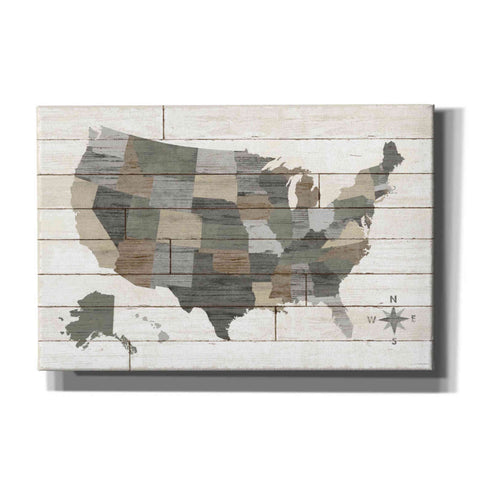 Image of 'Barnboard Map Neutral' by Sue Schlabach, Canvas Wall Art
