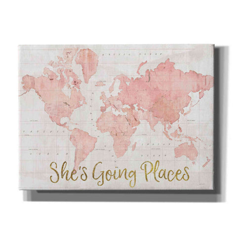 'Across the World Shes Going Places Pink' by Sue Schlabach, Canvas Wall Art