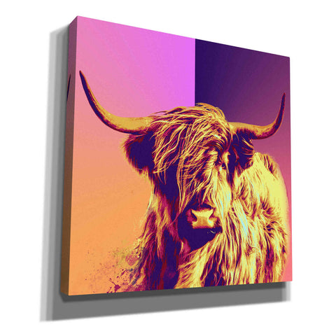 'Highland Cow Crush,' Canvas Wall Art