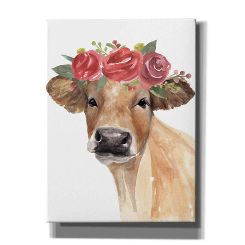 Image of 'Flowered Cow II' by Annie Warren, Canvas Wall Art