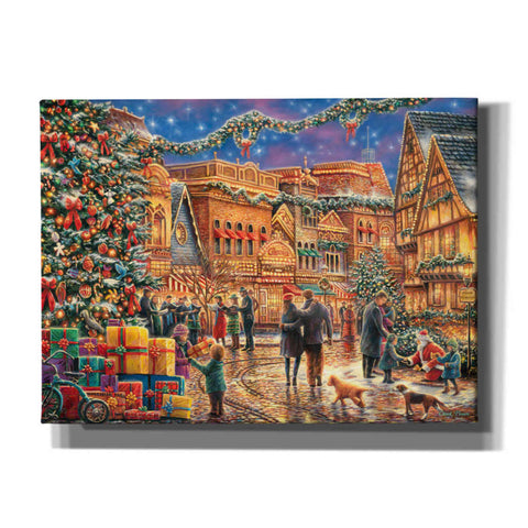 'Christmas at  Town Square' by Chuck Pinson, Canvas Wall Art