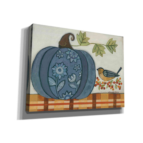 """Blue Patterned Pumpkin"" by Bernadette Deming, Canvas Wall Art"