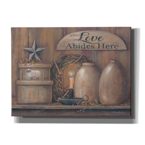 'Love Abides Here Shelf' by Pam Britton, Canvas Wall Art