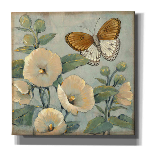 'Butterfly & Hollyhocks I' by Tim O'Toole, Canvas Wall Art