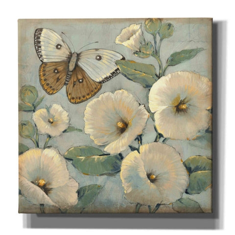 Image of 'Butterfly & Hollyhocks II' by Tim O'Toole, Canvas Wall Art