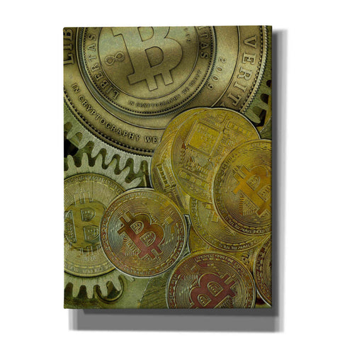 'Grunge Bitcoin Three' by Steve Hunziker, Canvas Wall Art