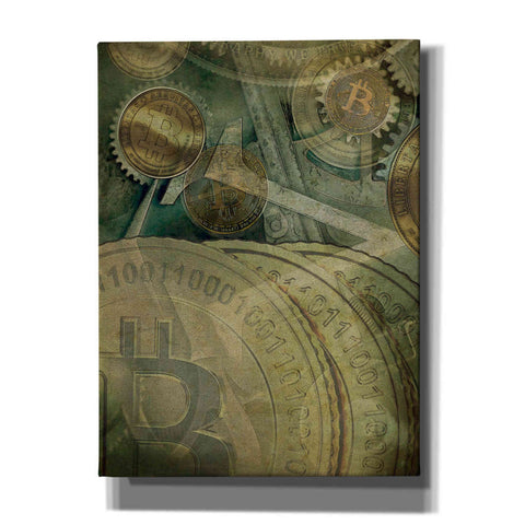 'Grunge Bitcoin Four' by Steve Hunziker, Canvas Wall Art