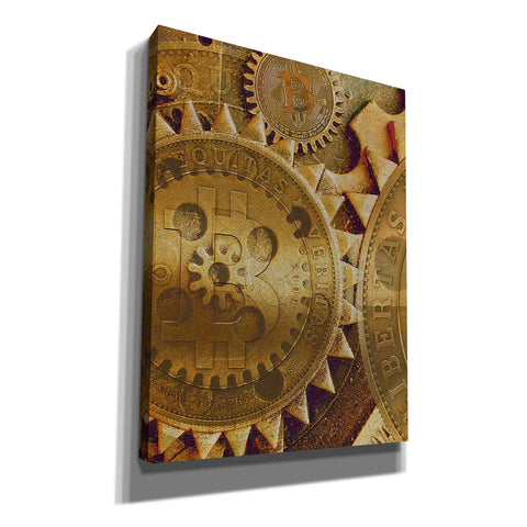 Image of 'Grunge Bitcoin Five' by Steve Hunziker, Canvas Wall Art