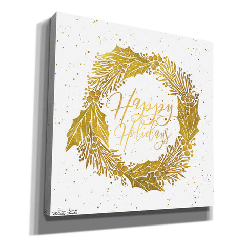 'Happy Holidays Golden Wreath' by Cindy Jacobs, Canvas Wall Art