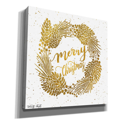 'Merry Christmas Gold Wreath' by Cindy Jacobs, Canvas Wall Art