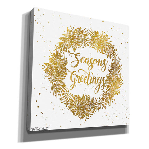 'Seasons Greetings Gold Wreath' by Cindy Jacobs, Canvas Wall Art