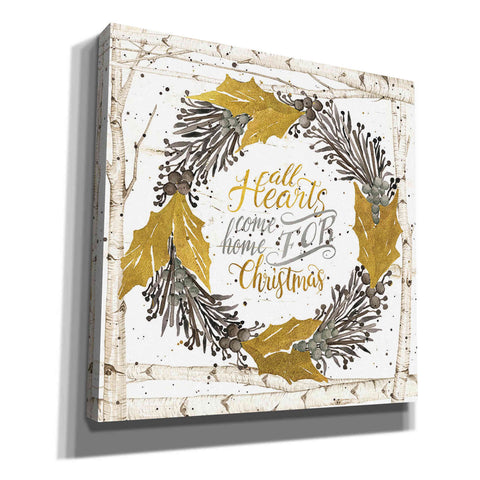 'All Hearts Come Home for Christmas Birch Wreath' by Cindy Jacobs, Canvas Wall Art