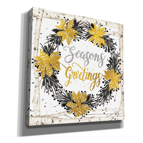 'Seasons Greetings Birch Wreath' by Cindy Jacobs, Canvas Wall Art