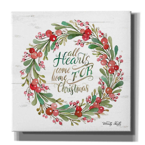 Image of 'All Hearts Come Home for Christmas Berry Wreath' by Cindy Jacobs, Canvas Wall Art