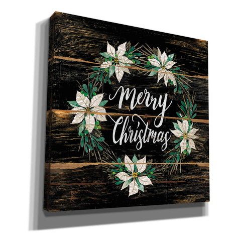 'Merry Christmas Poinsettia Wreath' by Cindy Jacobs, Canvas Wall Art