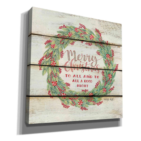 Image of 'Merry Christmas Candy Cane Wreath' by Cindy Jacobs, Canvas Wall Art