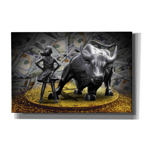 'Fearless Girl and Charging Bull on Bitcoin,' Canvas Wall Art