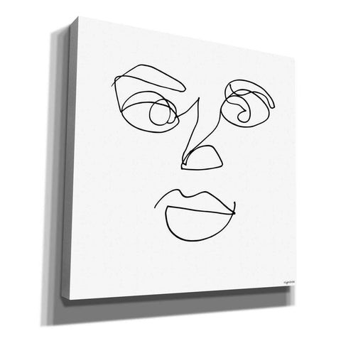 'Line Face' by Kyra Brown, Canvas Wall Art,Size 1 Square