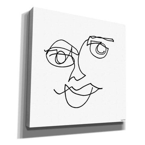 'Line Face II' by Kyra Brown, Canvas Wall Art,Size 1 Square