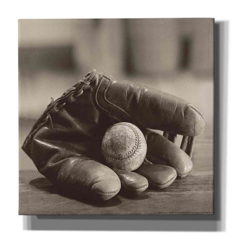 'Ball in Mitt' by Yellow Cafe, Canvas Wall Art,Size 1 Square