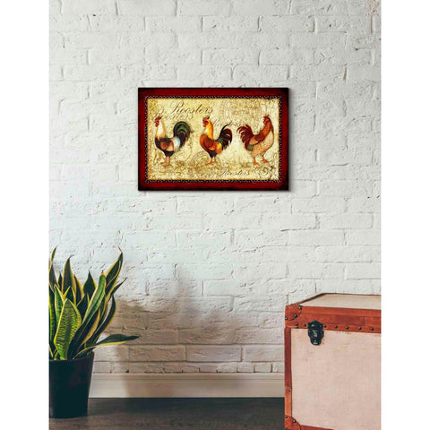 'Rooster Trio' by Yellow Cafe, Canvas Wall Art,26 x 18