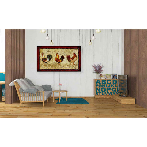 'Rooster Trio' by Yellow Cafe, Canvas Wall Art,40 x 26