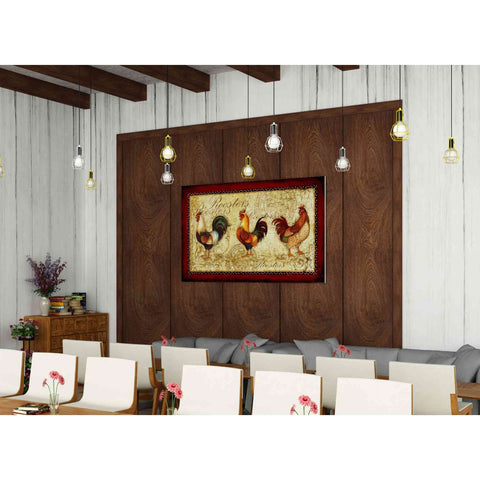 'Rooster Trio' by Yellow Cafe, Canvas Wall Art,60 x 40