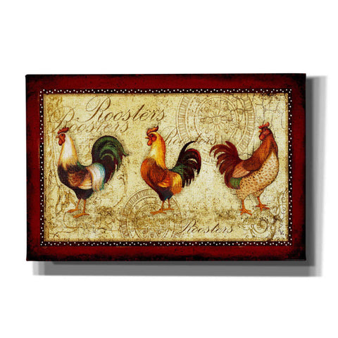 'Rooster Trio' by Yellow Cafe, Canvas Wall Art,Size A Landscape