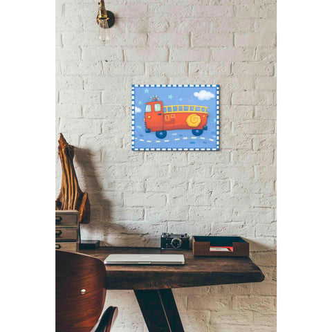Image of 'Blue Firetruck' by Yellow Cafe, Canvas Wall Art,16 x 12