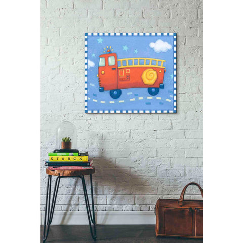 Image of 'Blue Firetruck' by Yellow Cafe, Canvas Wall Art,30 x 26