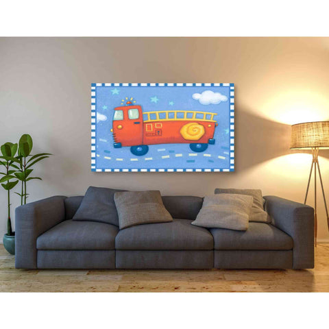 Image of 'Blue Firetruck' by Yellow Cafe, Canvas Wall Art,54 x 40