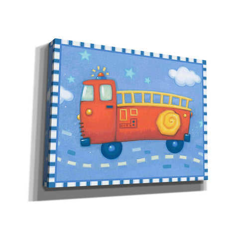 Image of 'Blue Firetruck' by Yellow Cafe, Canvas Wall Art,Size C Landscape