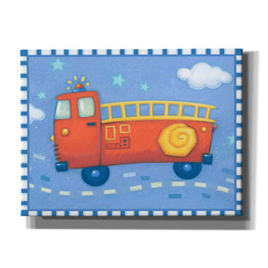 'Blue Firetruck' by Yellow Cafe, Canvas Wall Art,Size C Landscape