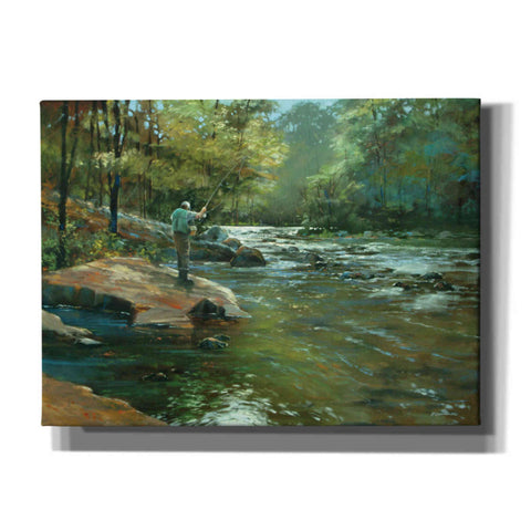 'The Fly Fisherman' by Roger Bansemer, Canvas Wall Art,Size B Landscape